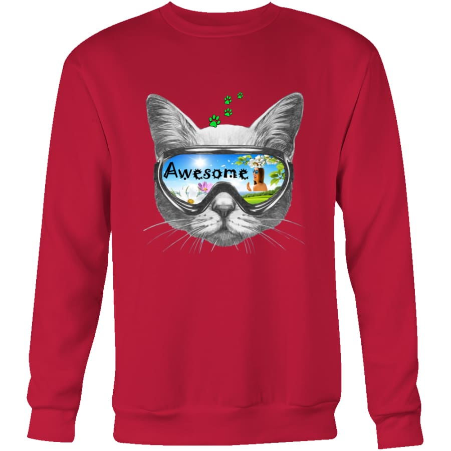 Awesome Cat Unisex Crewneck Sweatshirt (4 colors) - Red / S
