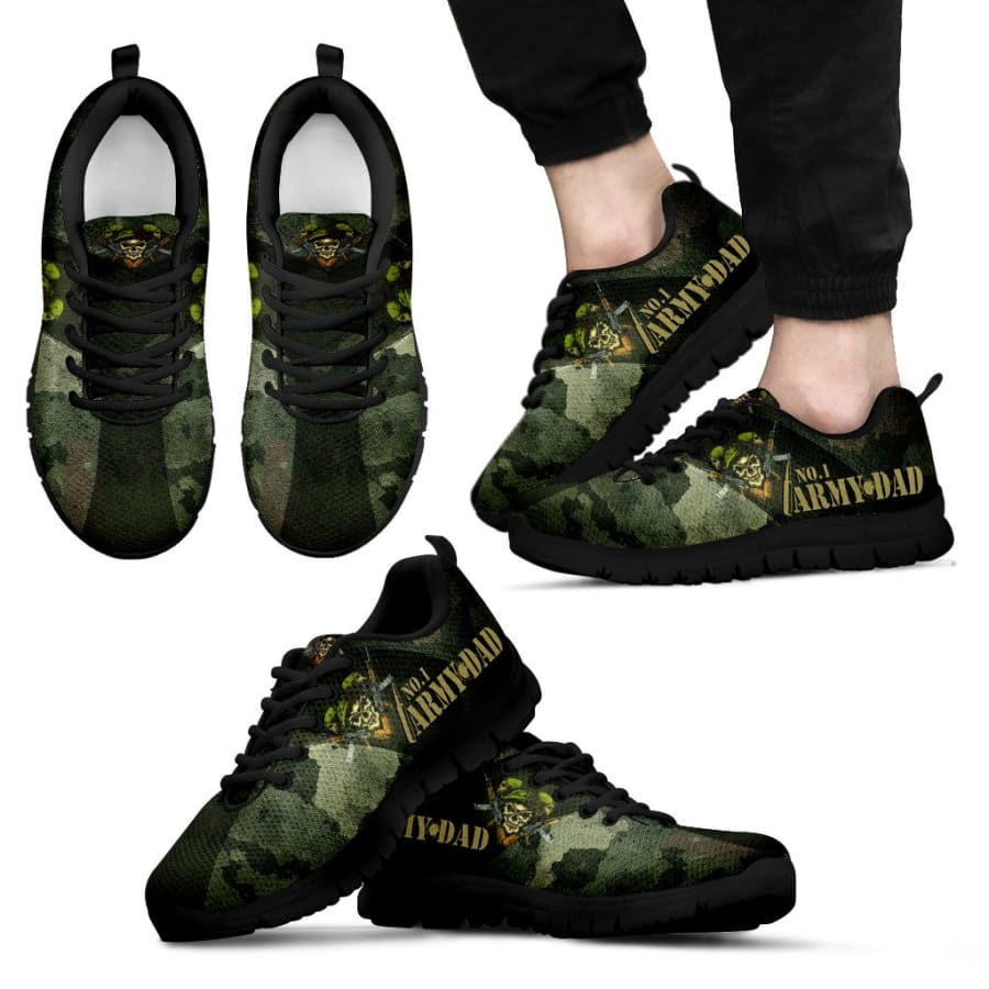 Awesome No. 1 Army Dad Sneakers Fathers Day Gift - Mens - Black - US5 (EU38)