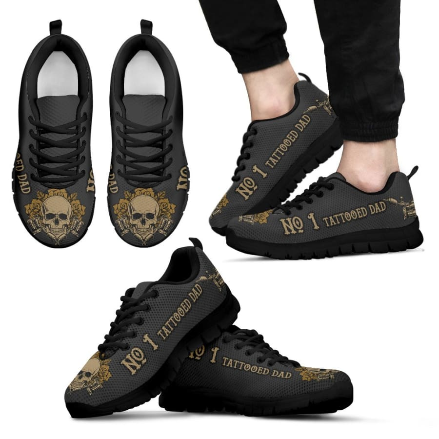 Awesome No. 1 Tattooed Dad Sneakers Fathers Day Gift - Mens - Black - no tattooed dad / US5 (EU38)