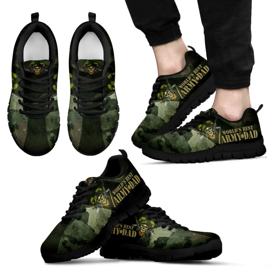 Awesome Worlds Best Army Dad Sneakers Fathers Day Gift - Mens - Black - US5 (EU38)