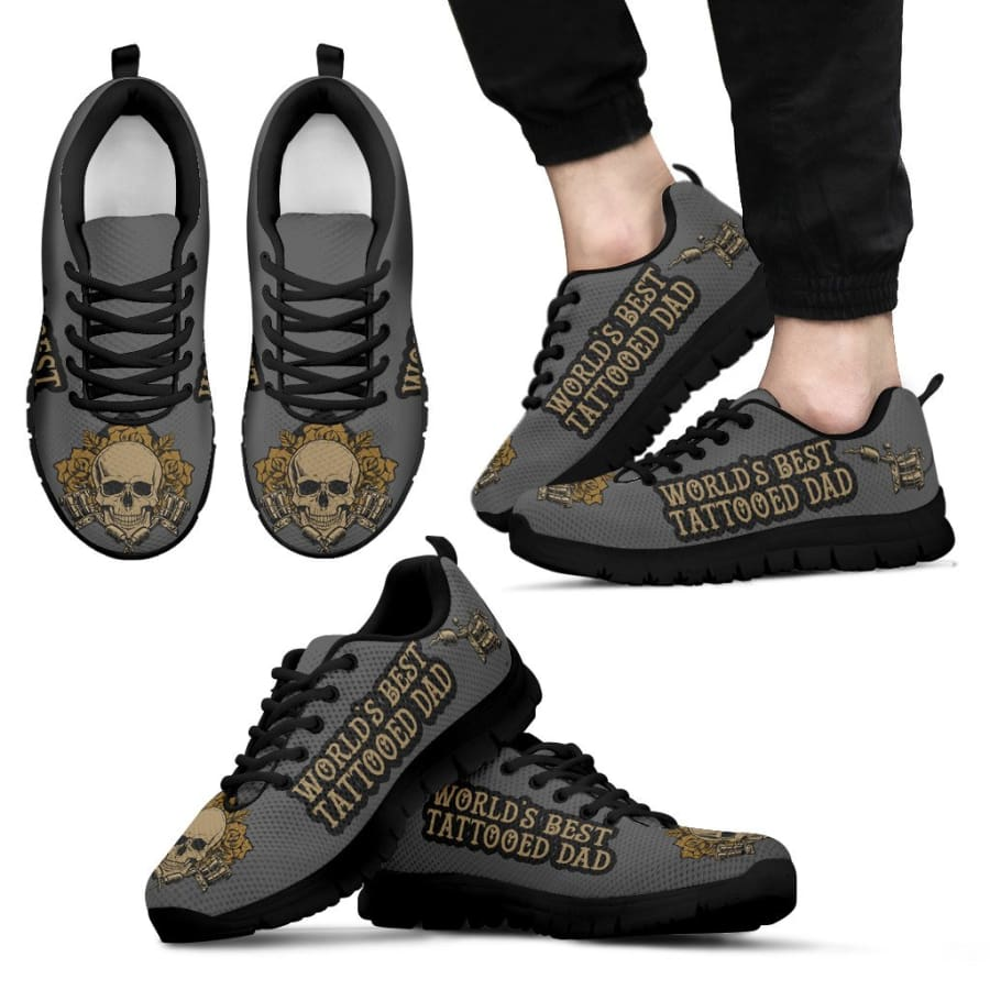Awesome Worlds Best Tattooed Dad Sneakers Fathers Day Gift - Mens - Black - US5 (EU38)