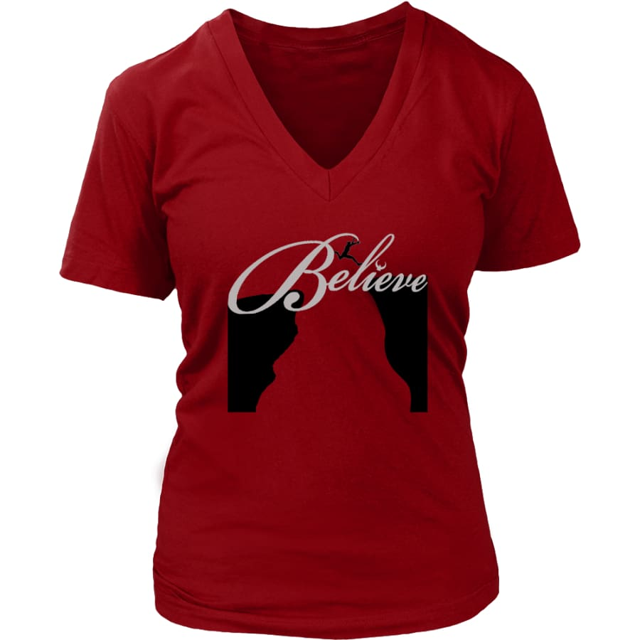 Believe It Then Will Come V-Neck T-shirt (6 colors) - District Womens / Red / S