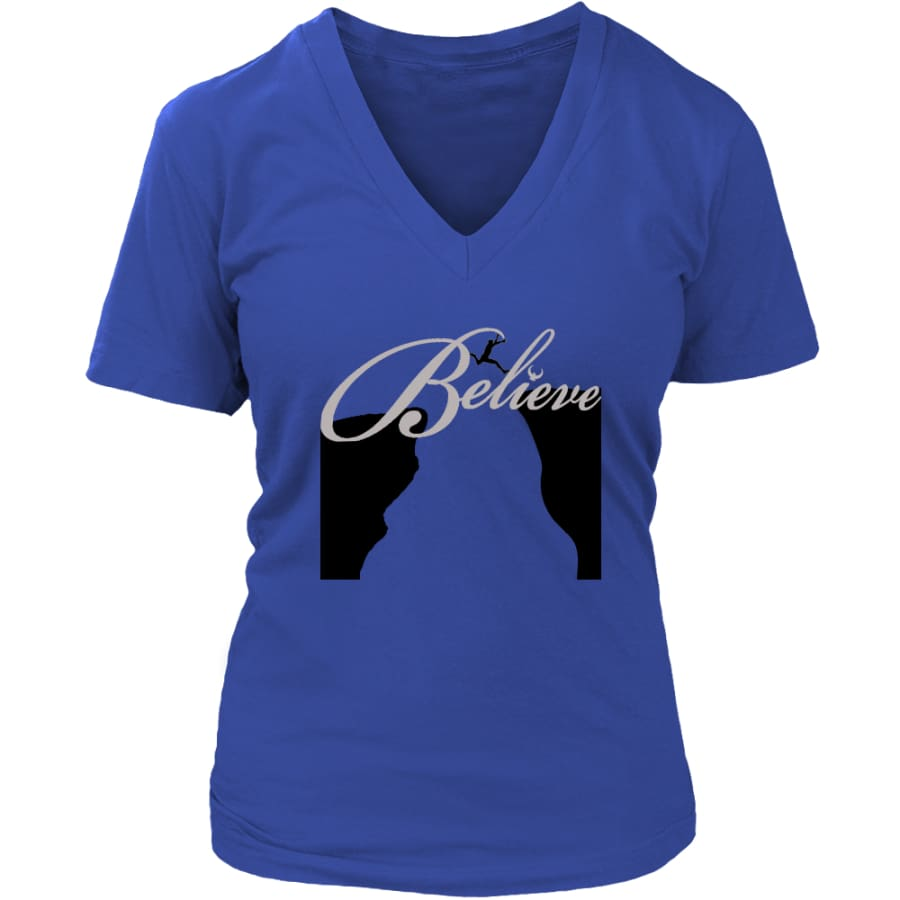 Believe It Then Will Come V-Neck T-shirt (6 colors) - District Womens / Royal Blue / S