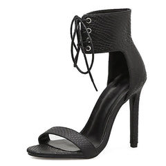 Black Lace Up Heels Sandals Ankle Strap Heels Open Toe Sandals (2 Colors)