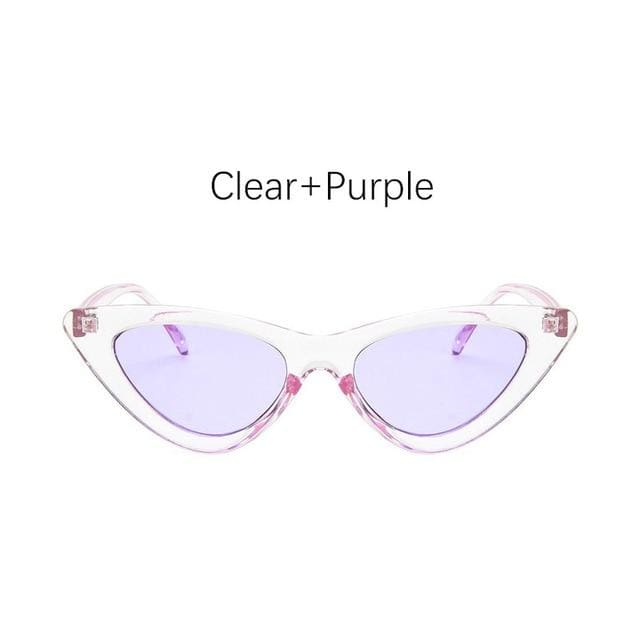 Cat Eye Sunglasses - Clear Purple