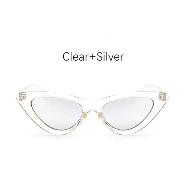 Cat Eye Sunglasses - Clear Silver