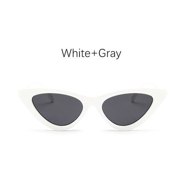 Cat Eye Sunglasses - White Gray
