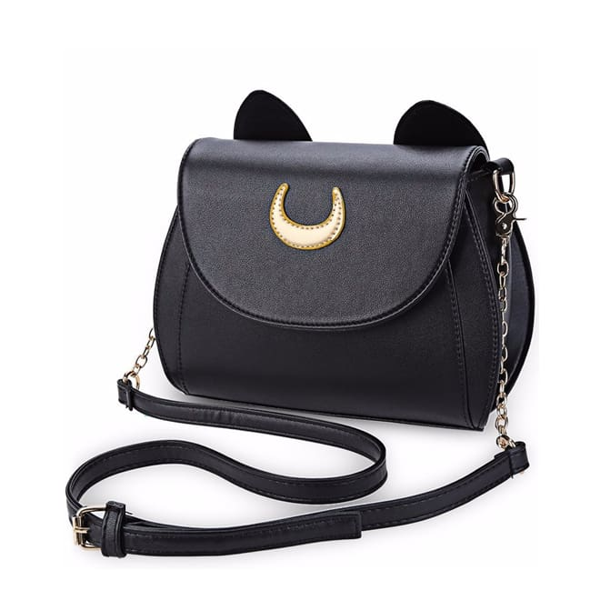 Cat Luna Moon Women Crossbody Bag (2 colors) - Black