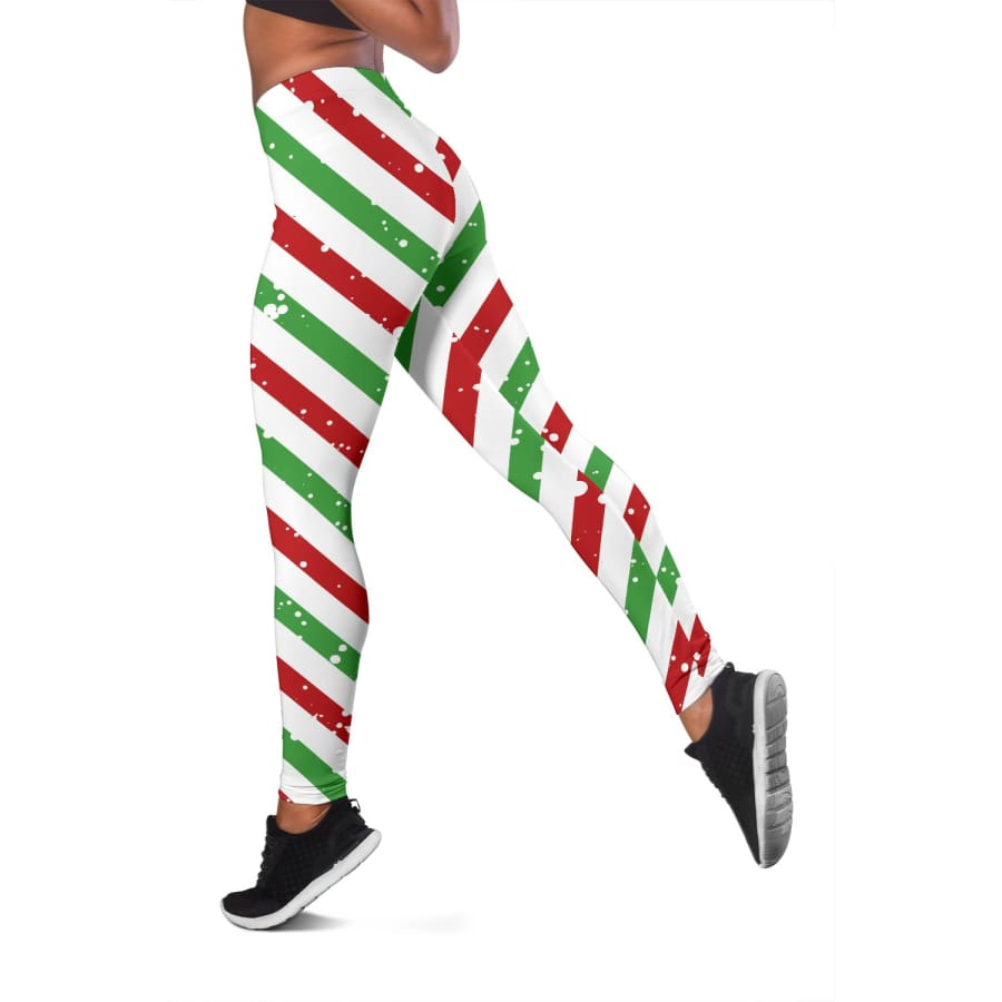 Christmas Candy Red Green White Leggings