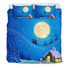 Christmas Night Moon Bedding Set