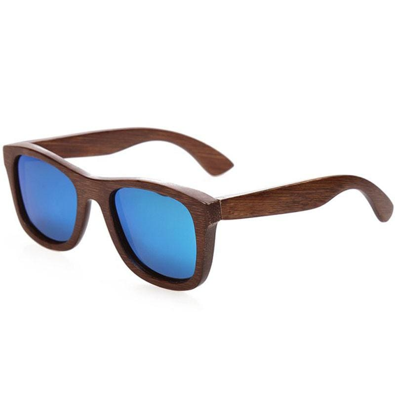 Dark Brown Full Frame Wood Sunglasses Polarized For Men Women(8 colors) - Blue