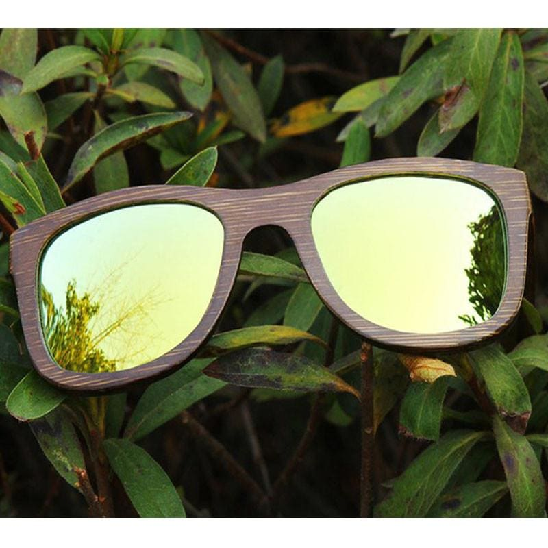 Dark Brown Full Frame Wood Sunglasses Polarized For Men Women(8 colors) - Gold