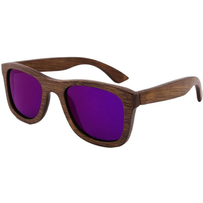 Dark Brown Full Frame Wood Sunglasses Polarized For Men Women(8 colors) - Purple