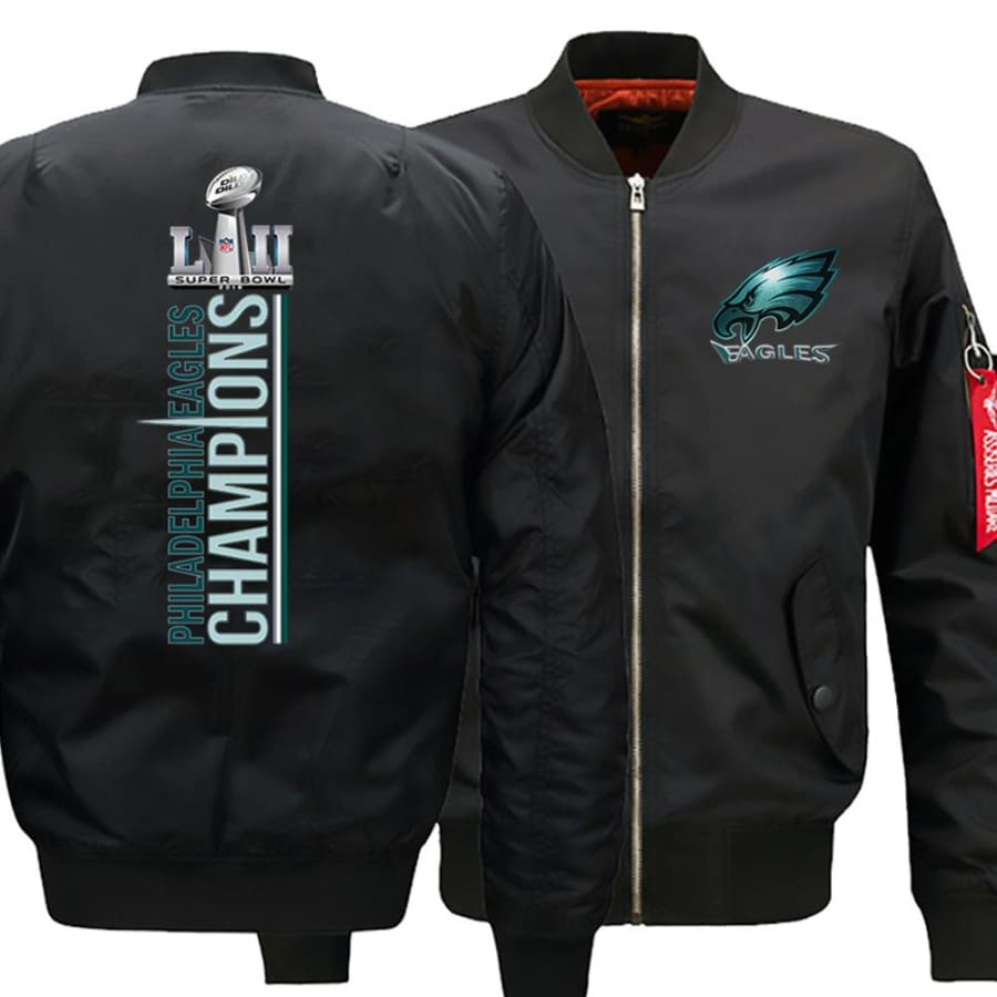 Eagles Bomber Jacket| Varsity Jackets| Military Army Jacket (3 Colors) - Black / XL