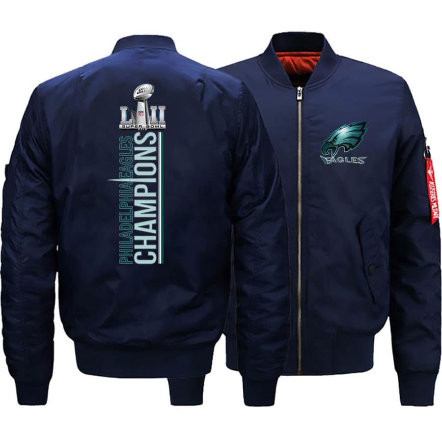 Eagles Bomber Jacket| Varsity Jackets| Military Army Jacket (3 Colors) - Dark Blue / XL