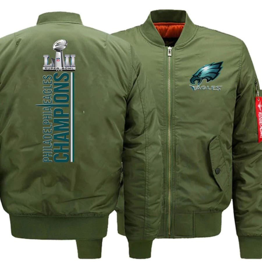 Eagles Bomber Jacket| Varsity Jackets| Military Army Jacket (3 Colors) - Green / XL
