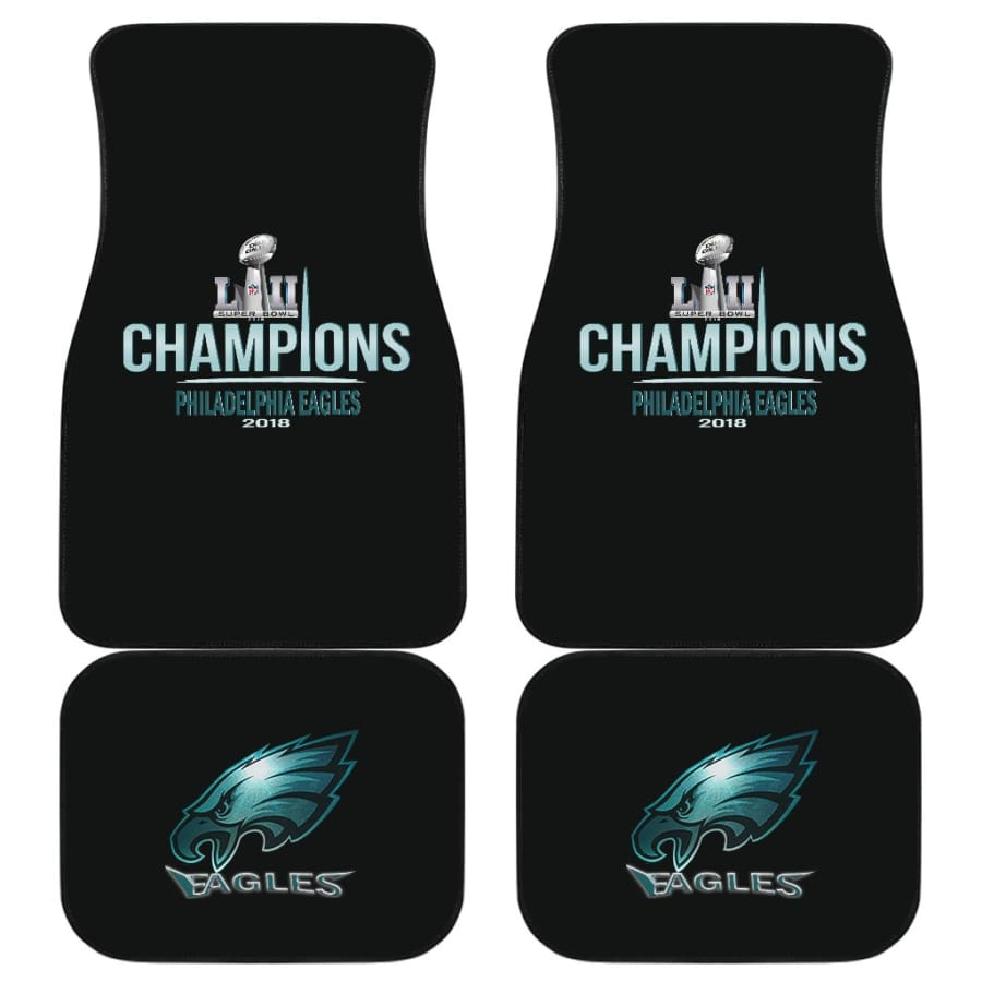 Eagles Front And Back Car Mat 4pcs Set | Super Bowl Champs Floor Mats - Of 4 - Universal Fit