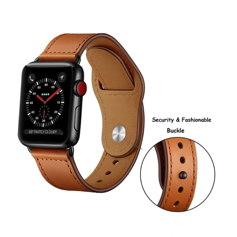 Easy Fasten Leather Apple Watch Strap