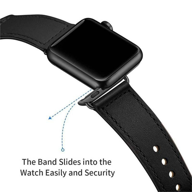 Easy Fasten Leather Apple Watch Strap - United States / black / 38mm