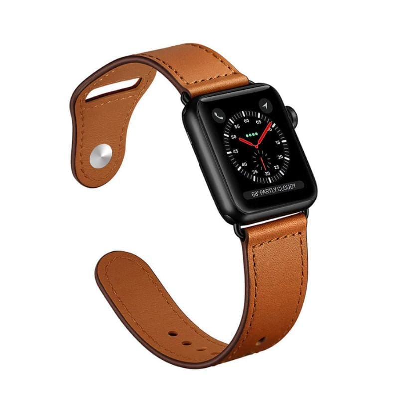 Easy Fasten Leather Apple Watch Strap - United States / brown / 38mm