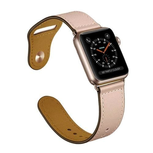 Easy Fasten Leather Apple Watch Strap - United States / pink / 40mm