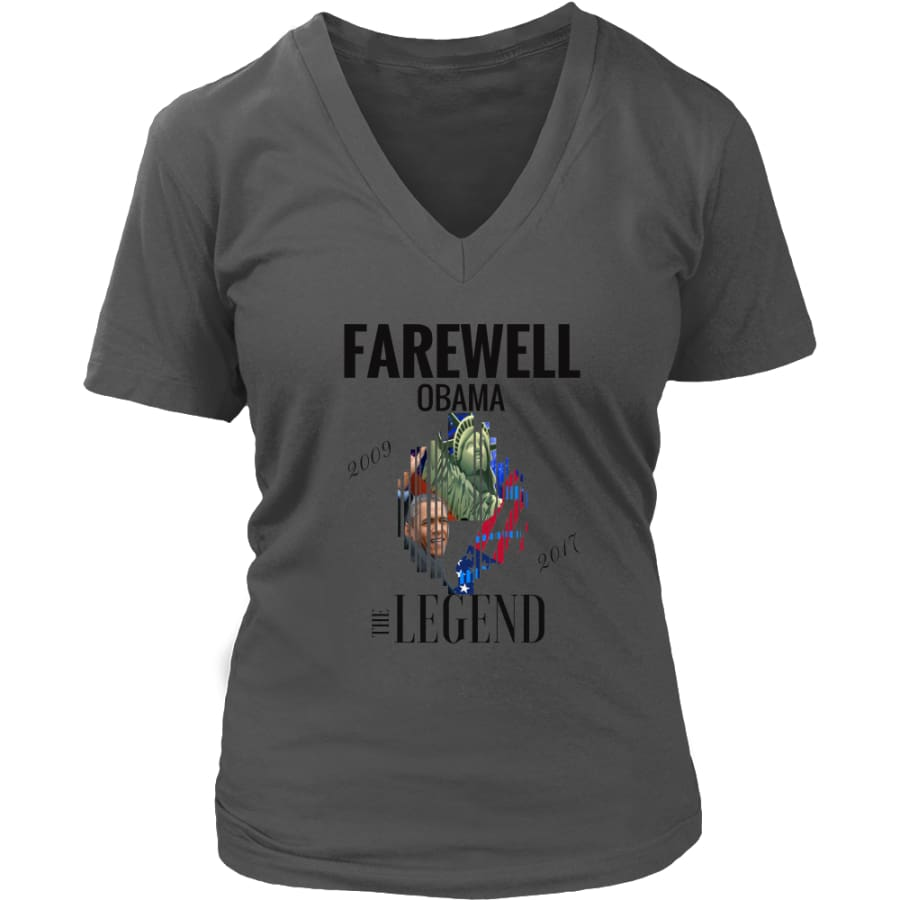 Farewell Obama - The Legend District Womens V-Neck Shirt (6 colors) - Charcoal / S