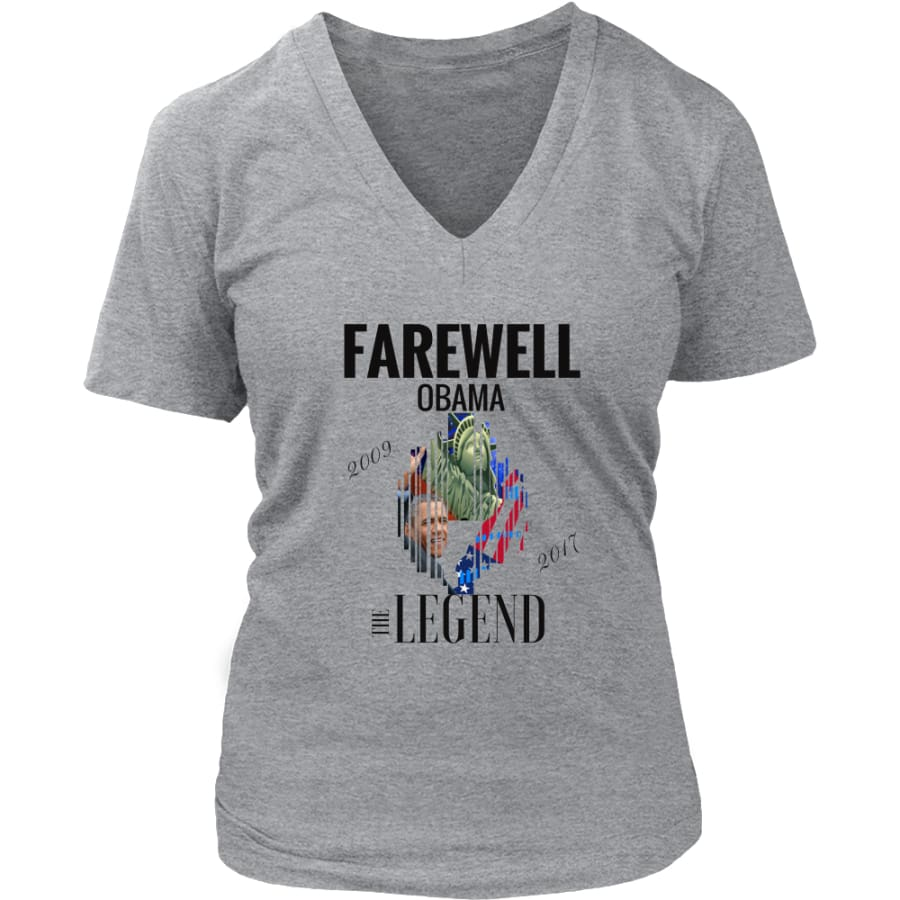 Farewell Obama - The Legend District Womens V-Neck Shirt (6 colors) - Heathered Nickel / S