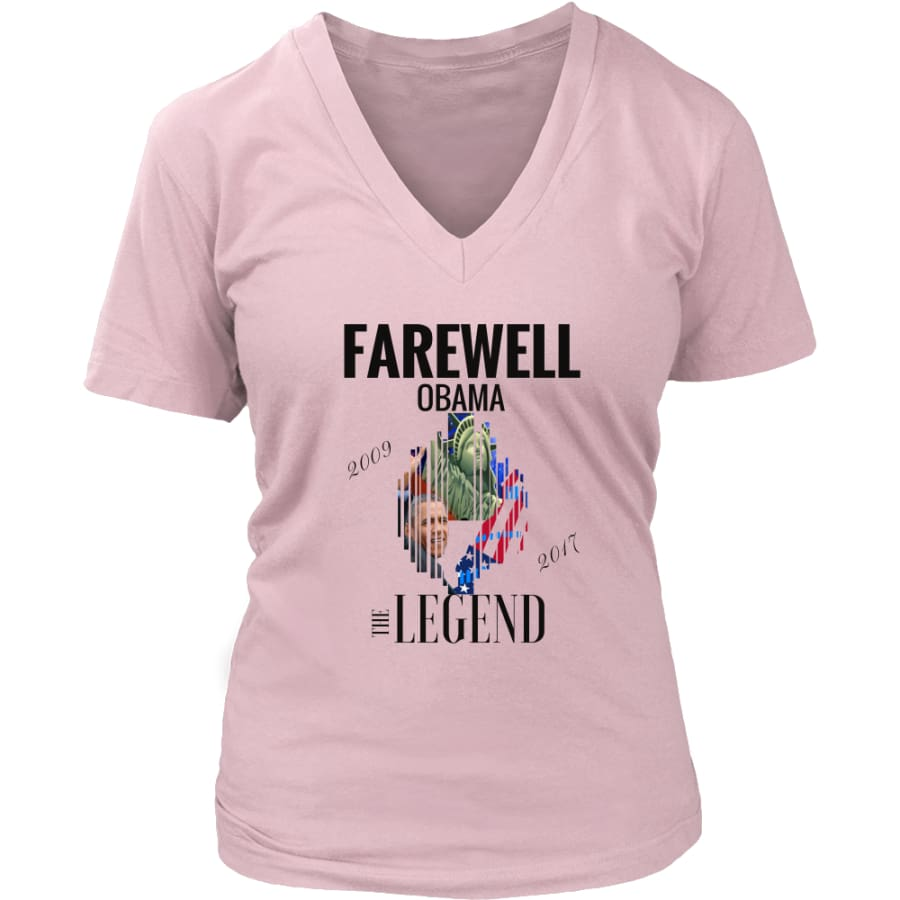 Farewell Obama - The Legend District Womens V-Neck Shirt (6 colors) - Pink / S