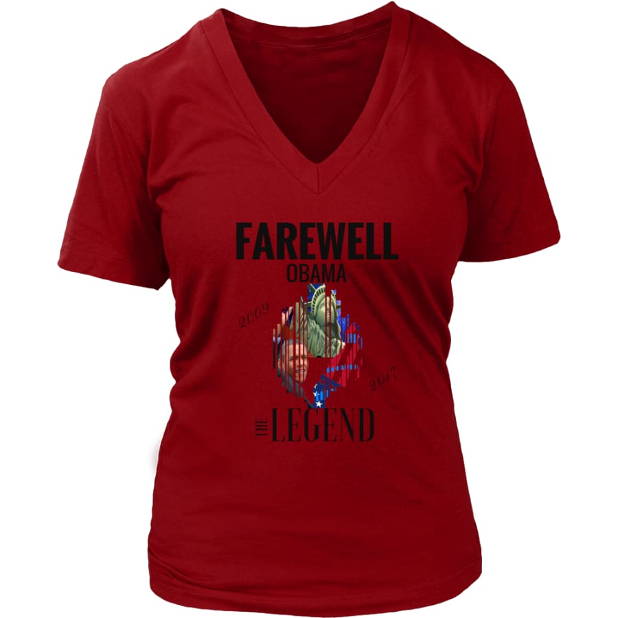 Farewell Obama - The Legend District Womens V-Neck Shirt (6 colors) - Red / S