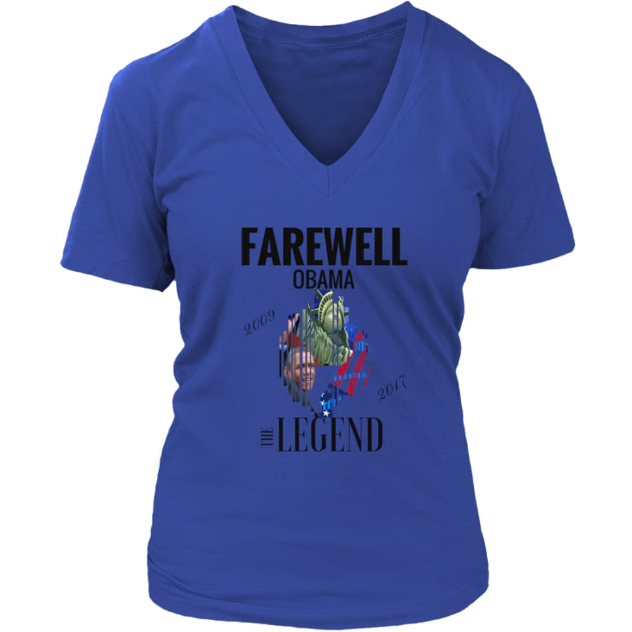 Farewell Obama - The Legend District Womens V-Neck Shirt (6 colors) - Royal Blue / S
