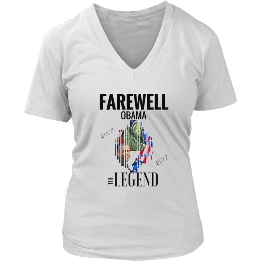 Farewell Obama - The Legend District Womens V-Neck Shirt (6 colors) - White / S