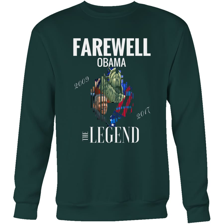 Farewell Obama - The Legend Unisex Crewneck Sweatshirt (4 colors) - Dark Green / S