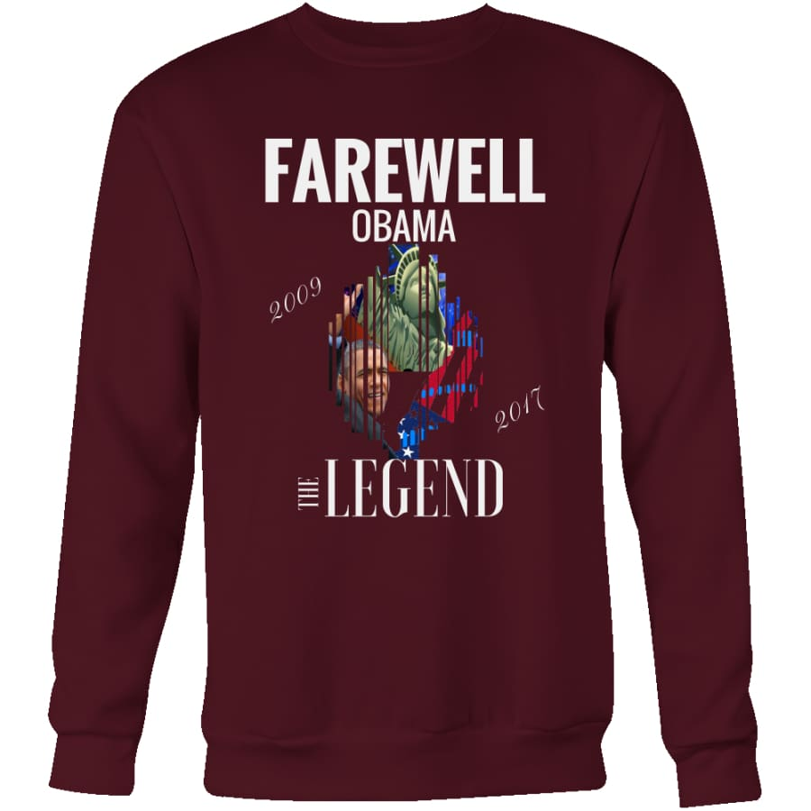 Farewell Obama - The Legend Unisex Crewneck Sweatshirt (4 colors) - Maroon / S