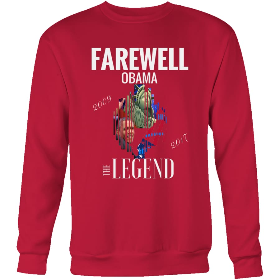 Farewell Obama - The Legend Unisex Crewneck Sweatshirt (4 colors) - Red / S