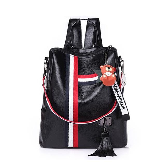 Fashion Leather Shoulder Bag | Backpack | School - Black