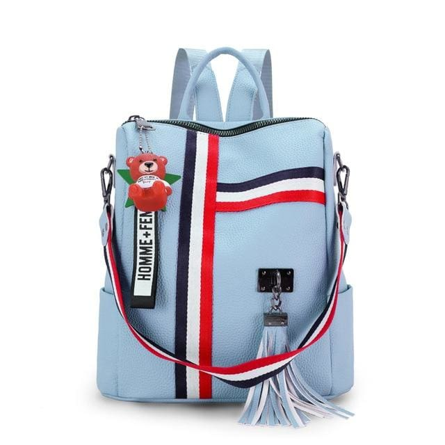 Fashion Leather Shoulder Bag | Backpack | School - Blue