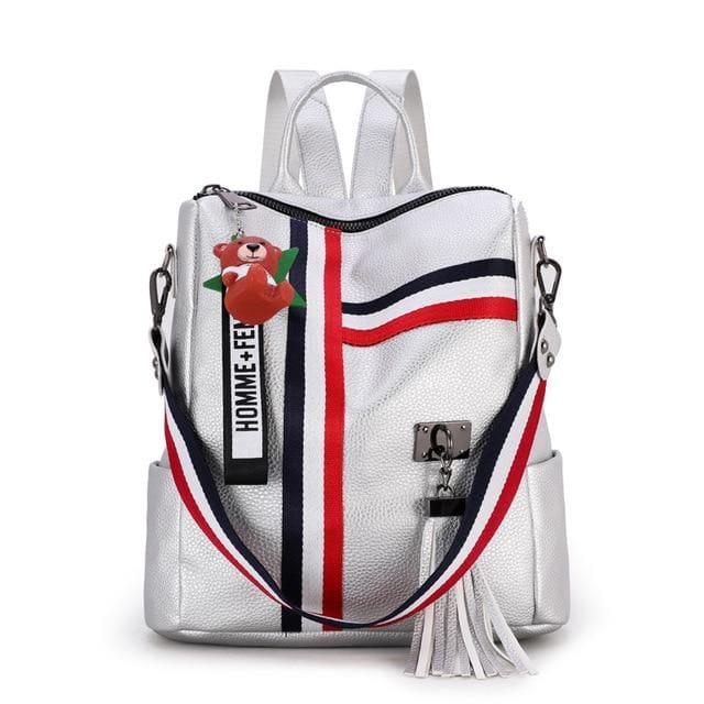 Fashion Leather Shoulder Bag | Backpack | School - Silver