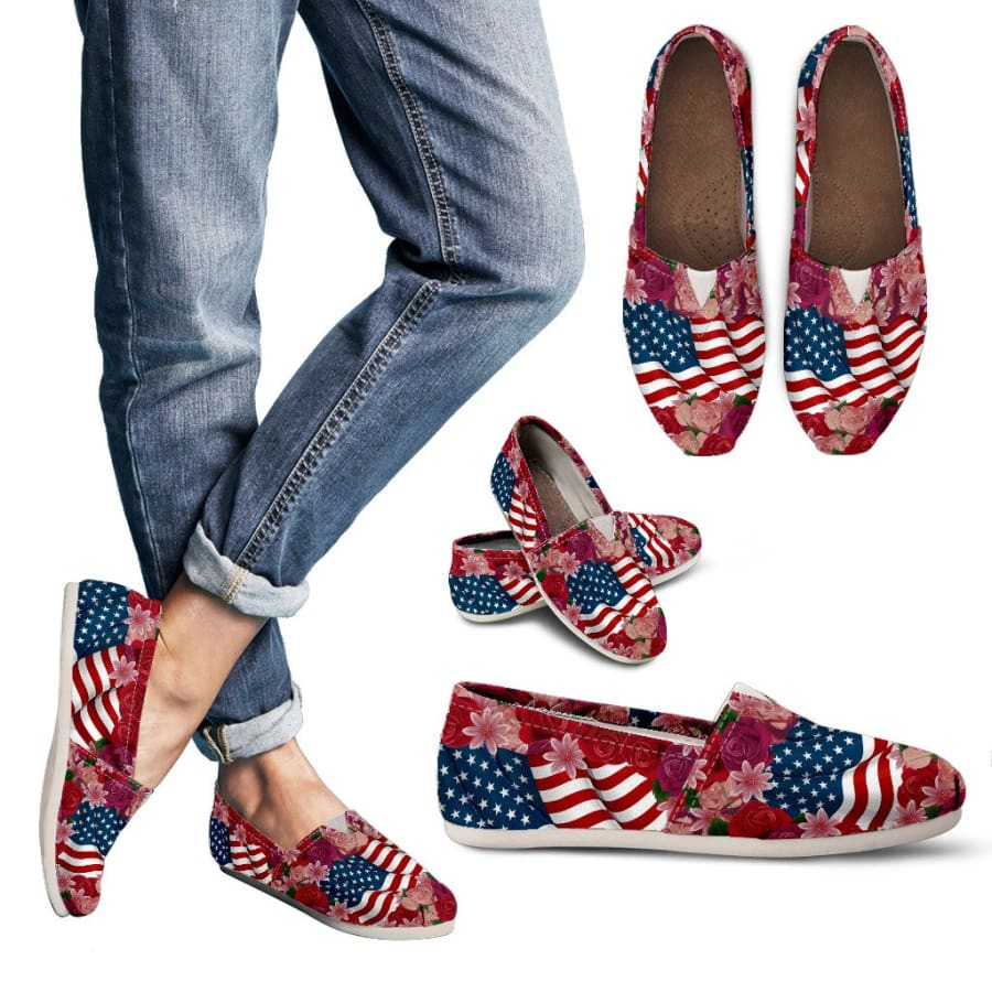 Florist & USA Flag Womens Casual Shoes