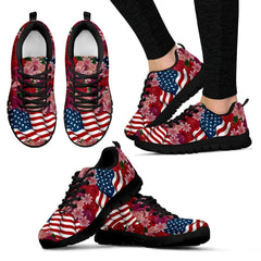 Florist & USA Flag Women's Sneakers|Independence Day Shoes