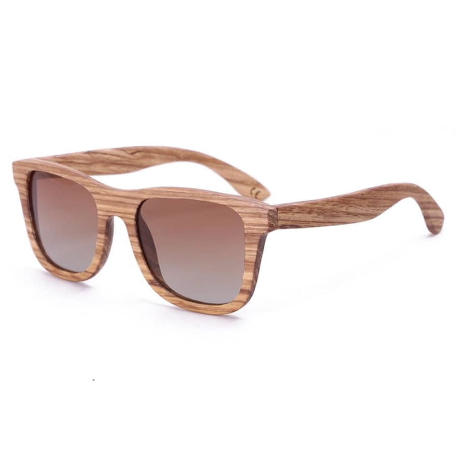 Full Frame Zebra Wood Sunglasses Polarized For Men Women (2 colors) - Tea