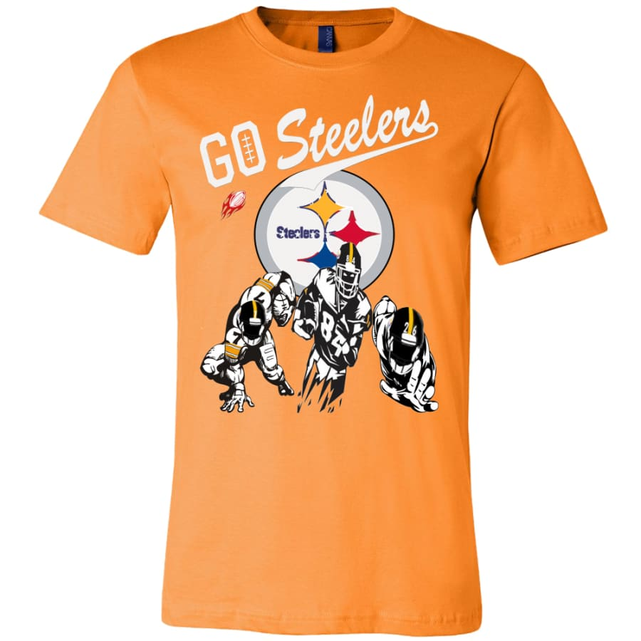 Go Steelers Pittsburgh Shirt (15 Colors) - Canvas Mens / Orange / S