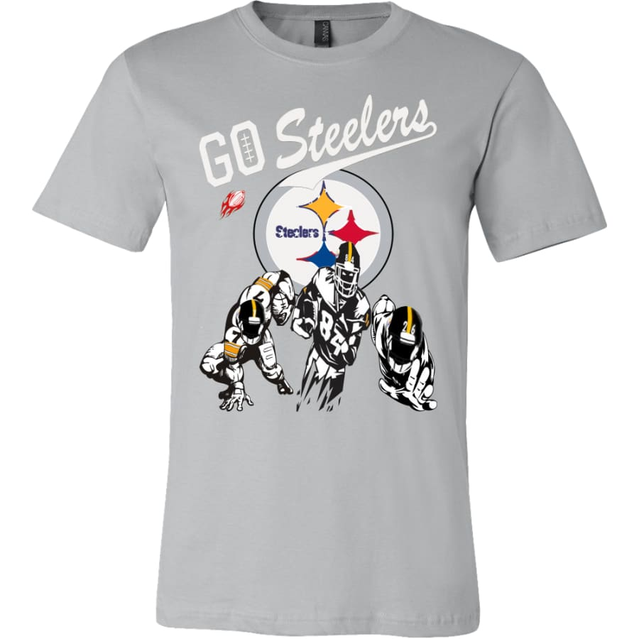 Go Steelers Pittsburgh Shirt (15 Colors) - Canvas Mens / Silver / S