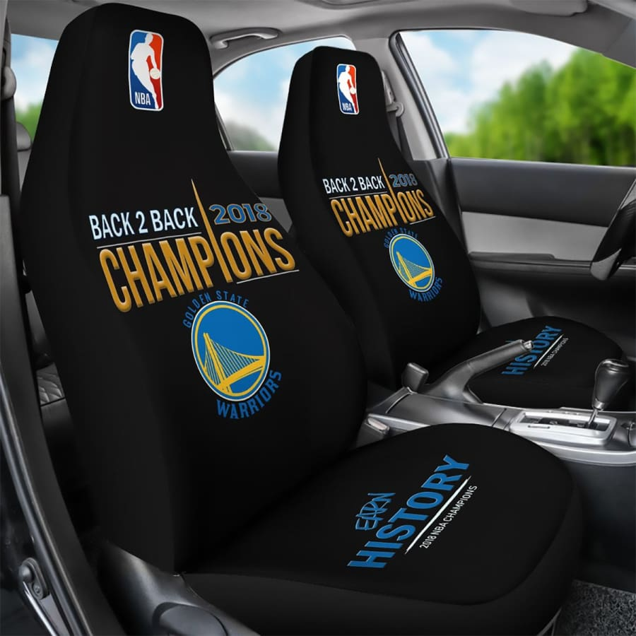 Golden State Warriors Car Seat Cover 2pcs 2018 NBA Back 2 Champions Covers