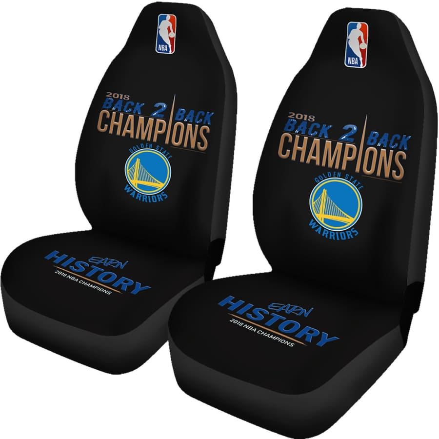 Golden State Warriors Car Seat Cover 2pcs 2018 NBA Back 2 Champions - Covers - Universal Fit