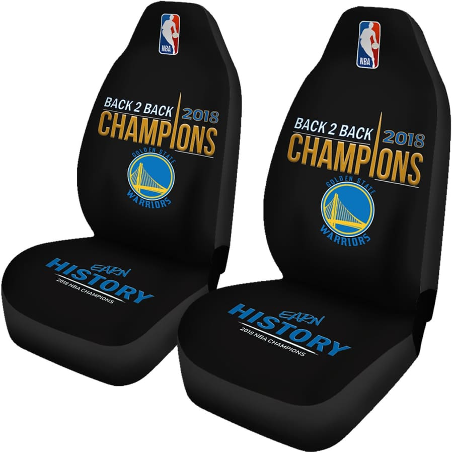 Golden State Warriors Car Seat Cover 2pcs 2018 NBA Back 2 Champions Covers - Universal Fit