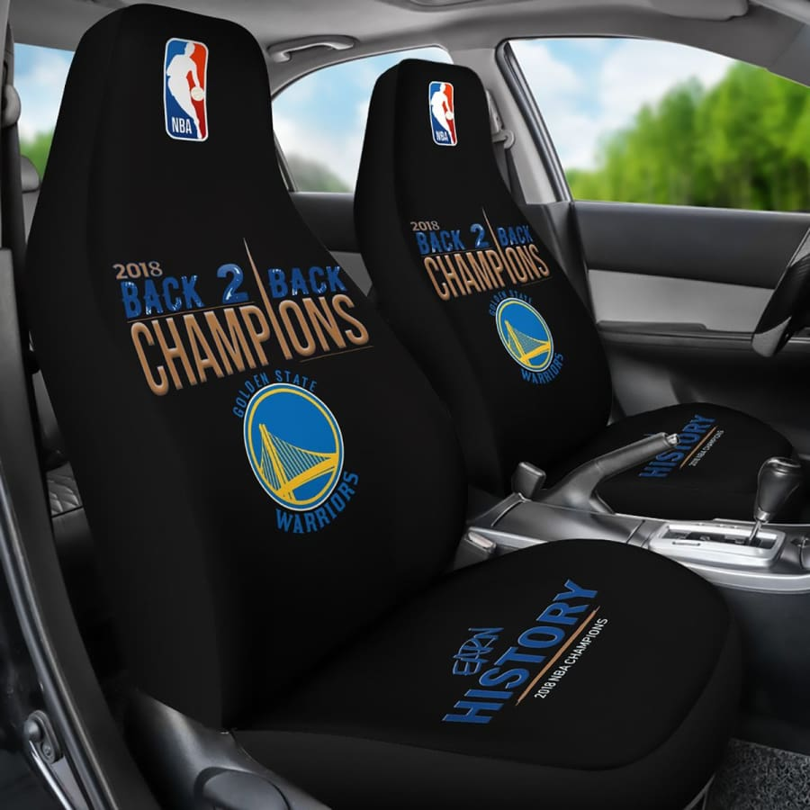 Golden State Warriors Car Seat Cover 2pcs 2018 NBA Back 2 Champions