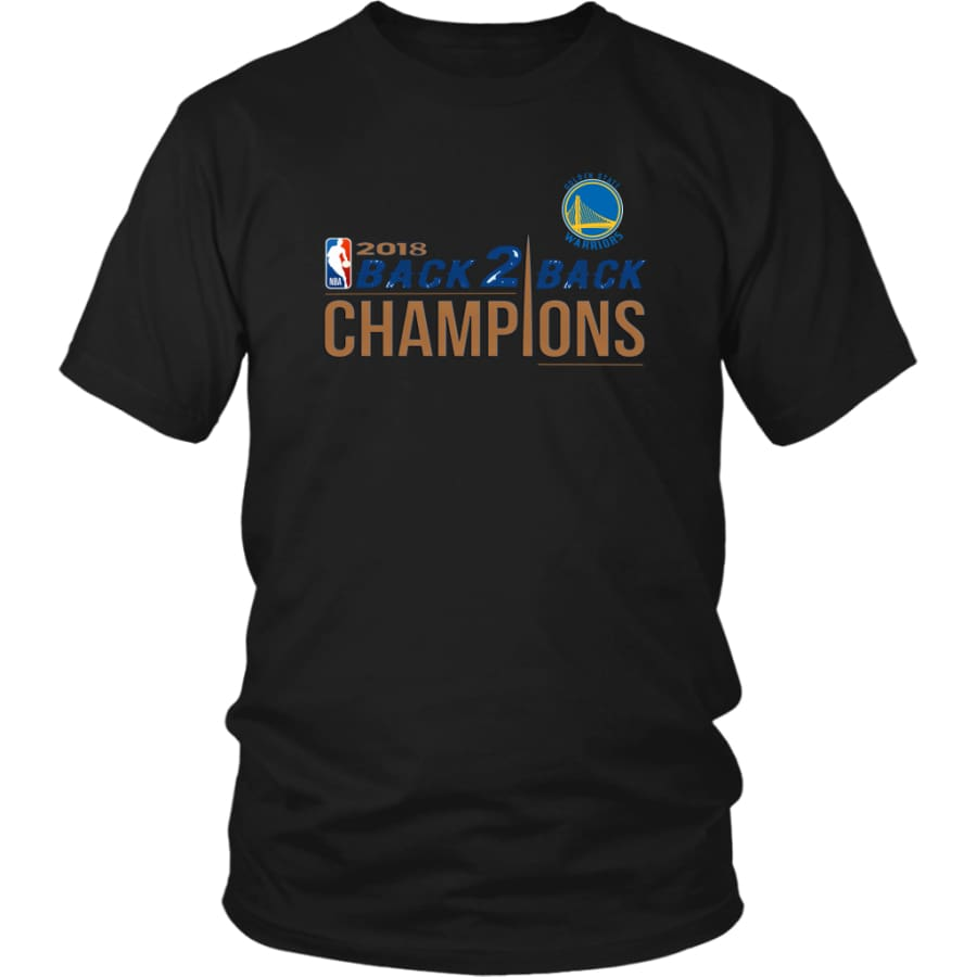 Golden State Warriors Unisex Shirt 2018 NBA Back 2 Champions (14 Colors) - District / Black / S