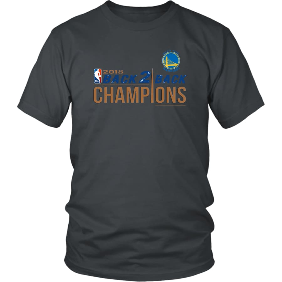 Golden State Warriors Unisex Shirt 2018 NBA Back 2 Champions (14 Colors) - District / Charcoal / S