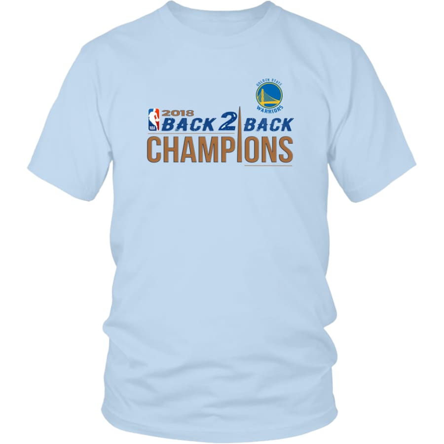 Golden State Warriors Unisex Shirt 2018 NBA Back 2 Champions (14 Colors) - District / Ice Blue / S