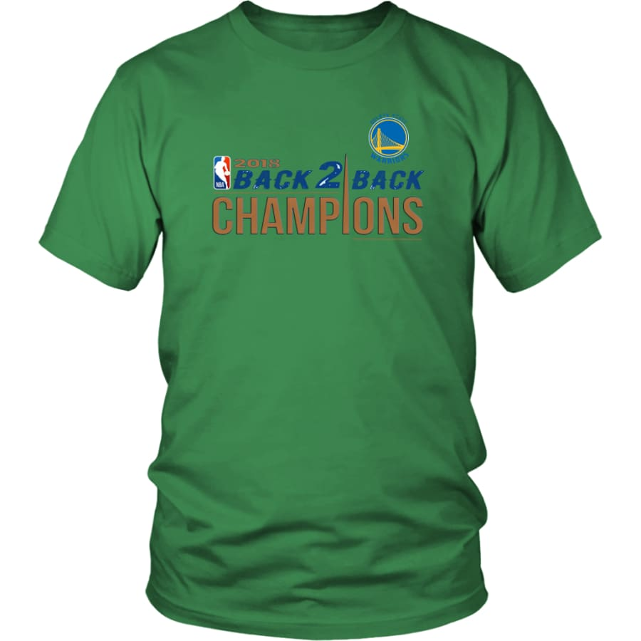 Golden State Warriors Unisex Shirt 2018 NBA Back 2 Champions (14 Colors) - District / Kelly Green / S